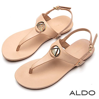 ALDO 原色真皮T字金屬夾腳平底涼鞋~氣質裸色