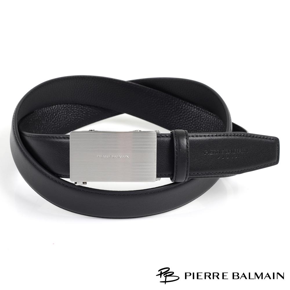 【PB皮爾帕門】紳士簡約方框頭層牛皮自動扣皮帶(357)