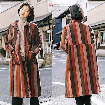 外套-加絨加厚亞麻直條紋棉衣-設計所在