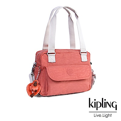 Kipling 斜背包 粉橘素面-中