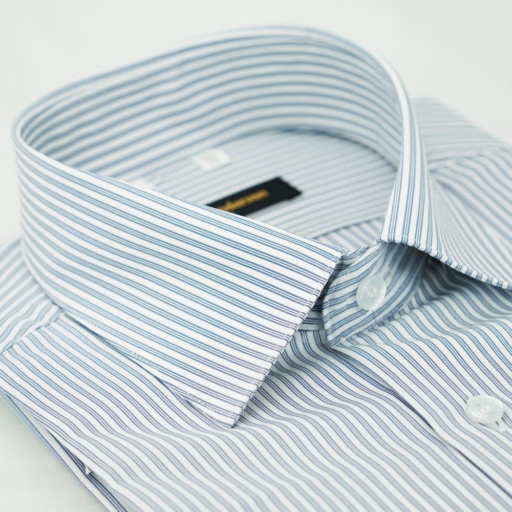 【金‧安德森】灰白條紋吸排窄版長袖襯衫fast