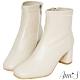 Ann'S纖細小姐姐-小羊皮方頭低跟塑身短靴-米白 product thumbnail 1