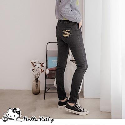 咖啡KITTY~腰鬆緊彈力修身窄管牛仔褲-OB大尺碼