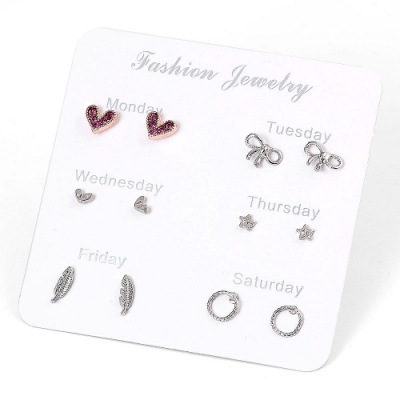 梨花HaNA 韓國簡約一週間六件套裝甜美通勤耳環