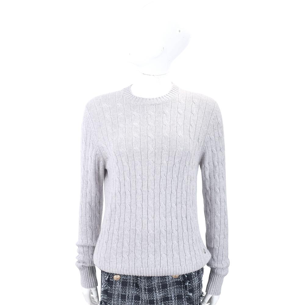 Andre Maurice 喀什米爾麻花織紋灰色羊毛衫