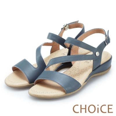 CHOiCE 細緻牛皮斜帶造型厚底涼鞋 藍色