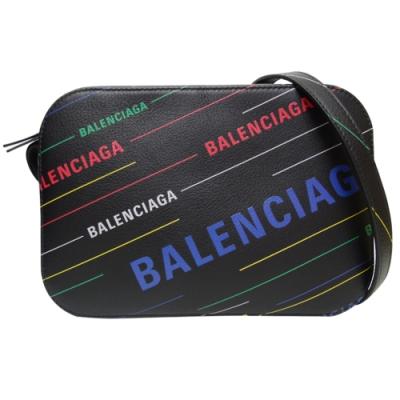 BALENCIAGA 彩色LOGO字母斜背中款相機包(黑色)