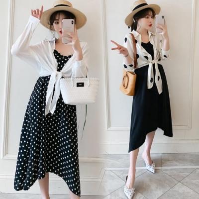 中大尺碼黑色大圓點綁帶雪紡罩衫加大擺裙背心裙套裝XL~4L-Ballet Dolly
