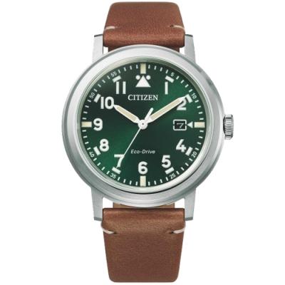 CITIZEN 星辰 光動能日系時尚手錶-綠x咖啡/40mm(AW1620-13X)