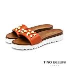 Tino Bellini義大利進口金屬珍珠厚底拖鞋_橘紅