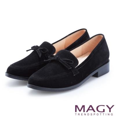MAGY 復古潮流 氣質蝴蝶結絨布低跟鞋-黑色