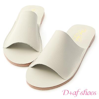 D+AF 愜意搭配.超軟一字平底涼拖鞋*灰