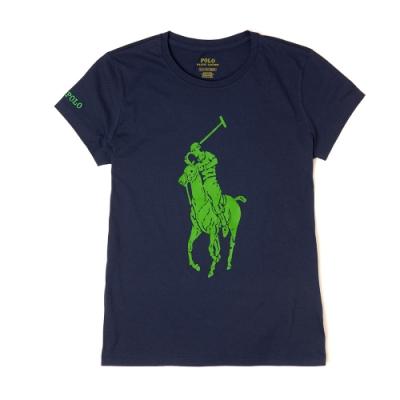 Polo Ralph Lauren 經典大馬印刷設計短袖T恤(女)-深藍色