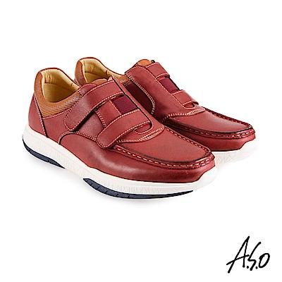 A.S.O機能休閒 萬步健康鞋 雙帶魔鬼黏休閒鞋-暗紅