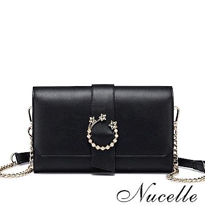 Nucelle  布達佩斯韓版鏈條小方包 時尚黑