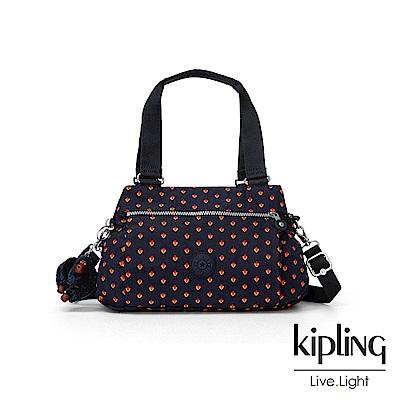 Kipling 紅黃幾何圖騰梯形手提側背包-ORELIE