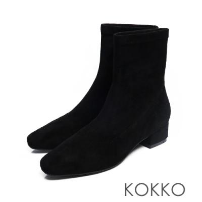 KOKKO - 時尚新寵兒方頭粗跟襪靴 -  黑色