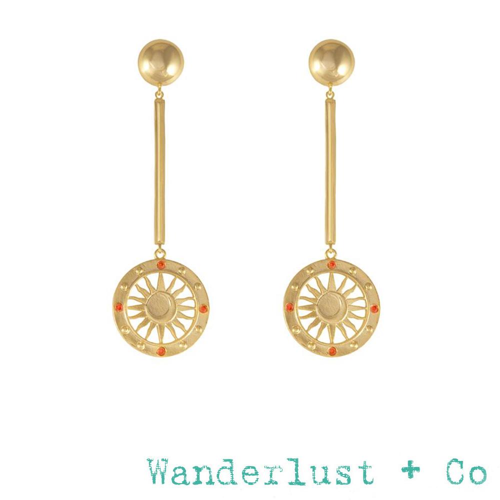 Wanderlust+Co 澳洲品牌 金色太陽神耳環 平衡骨X圓圈耳環SOLIS DROP