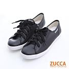 ZUCCA-軟皮革綁繩休閒鞋-黑-z6336bk