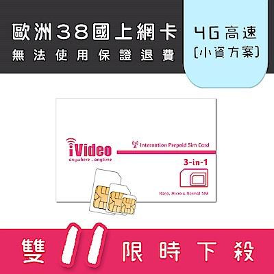iVideo歐洲上網卡 SIM卡 15天 吃到飽 【小資方案】
