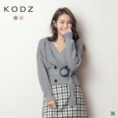 東京著衣-KODZ 高雅時髦V領開襟排釦腰帶針織毛衣(共二色)