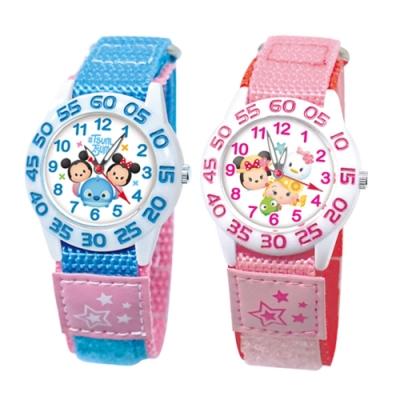 DISNEY迪士尼 自黏休閒織帶手錶 TsumTsum 33mm兩款任選