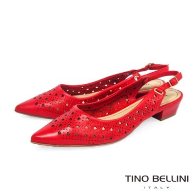 Tino Bellini巴西進口愛心鏤空後釦帶低跟鞋_紅