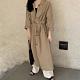 【KISSDIAMOND】休閒復古風衣式單排扣系帶寬鬆洋裝(簡約/百搭/文青風/KDD-2966) product thumbnail 1