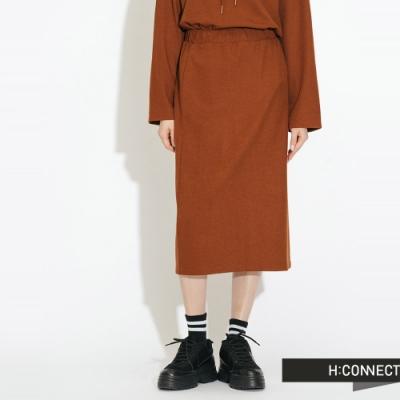 H:CONNECT 韓國品牌 女裝- 後開岔鬆緊中長裙-棕