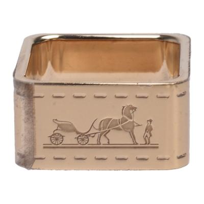 HERMES 經典品牌馬車LOGO方形絲巾釦環(金)