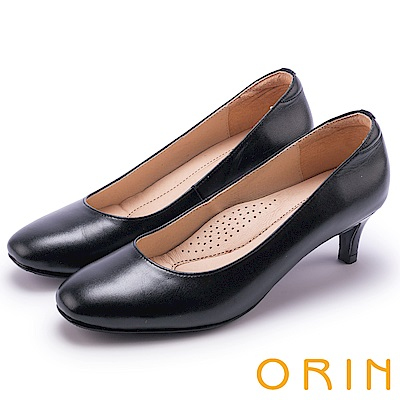 ORIN 典雅時尚女人 嚴選牛皮百搭素面高跟鞋-黑色