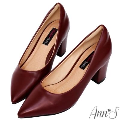 Ann'S加上優雅高跟版-復古皮革沙發後跟尖頭鞋-酒紅