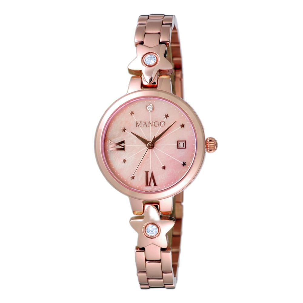 MANGO 心心相印晶鑽貝殼面腕錶-玫瑰金X粉紅-MA6728L-11R/28mm