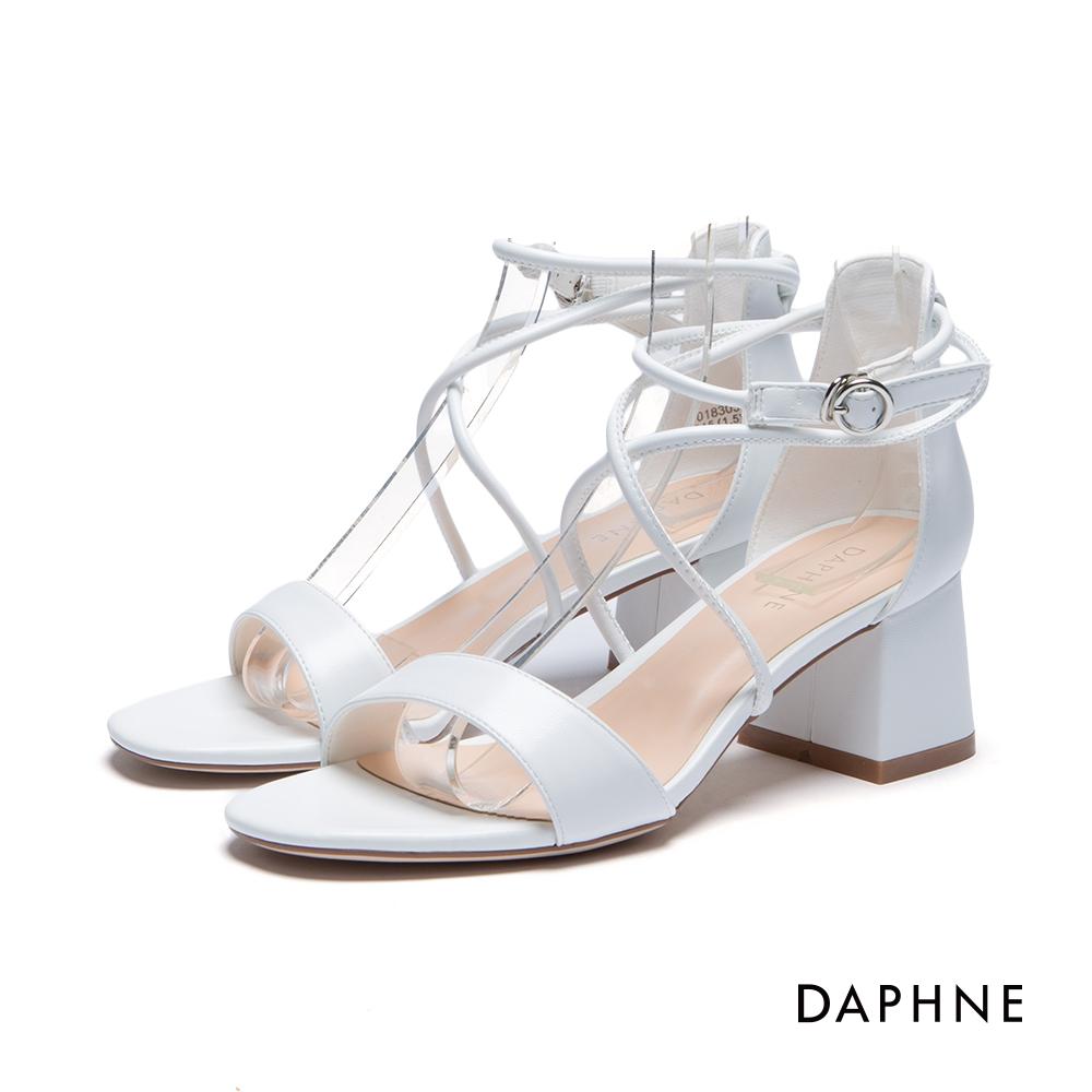 達芙妮DAPHNE 涼鞋-交叉線圈粗跟涼鞋-白