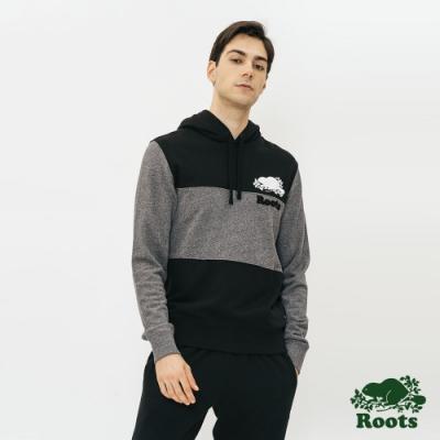 男裝Roots- 經典撞色毛圈布連帽上衣-黑