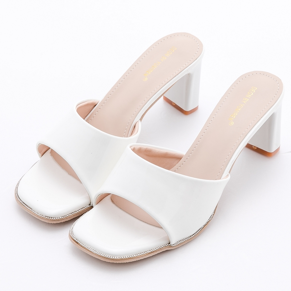 River&Moon涼鞋 光澤一字寬版鑲鑽方頭高跟拖鞋  白