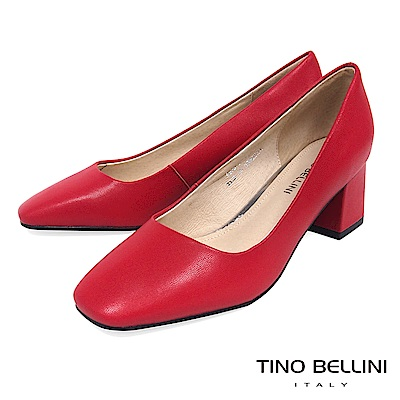 Tino Bellini 簡約原色全真皮方頭跟鞋 _ 紅