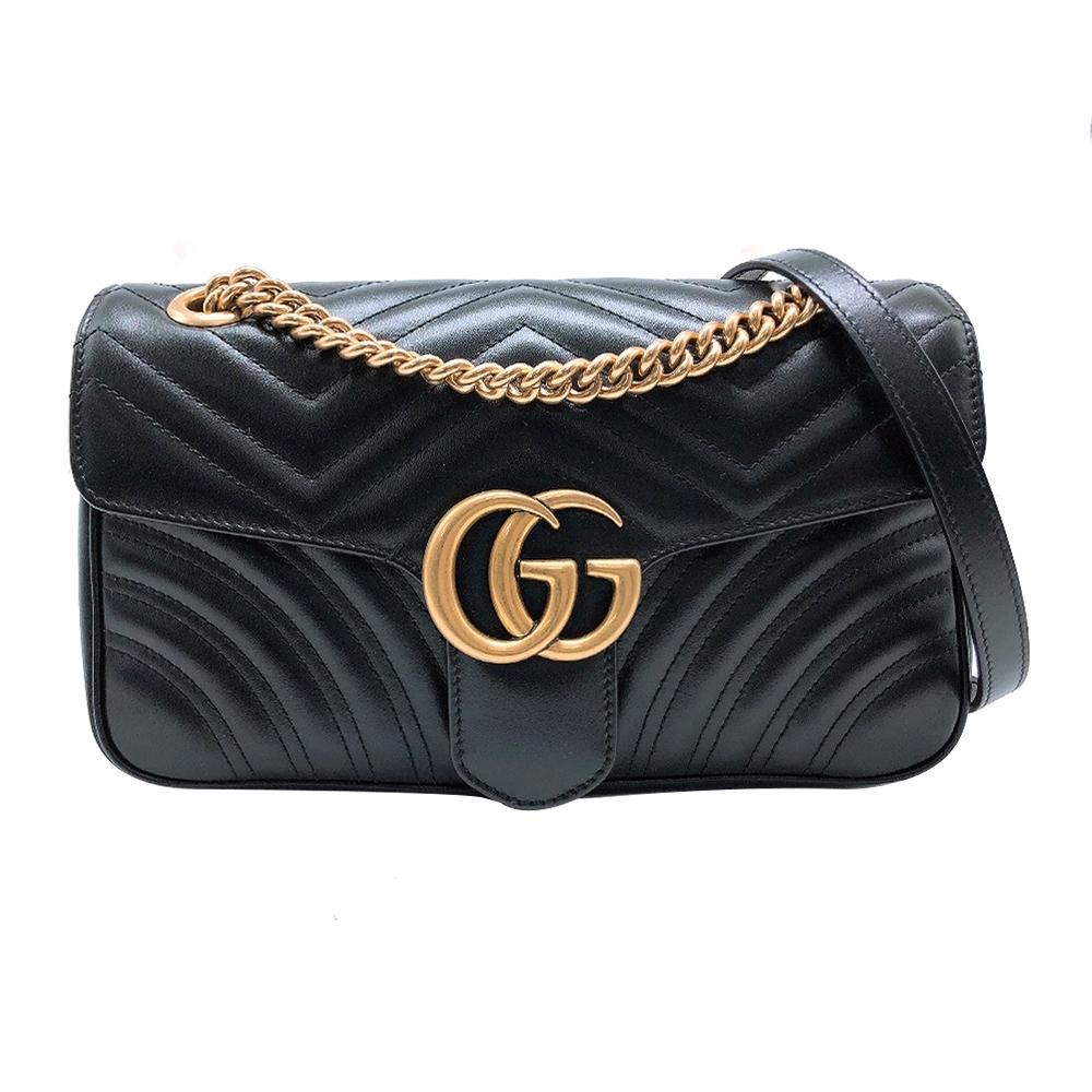 GUCCI Marmont 復古金logo牛皮掀蓋扣式肩背斜背包-30cm(443496-黑)