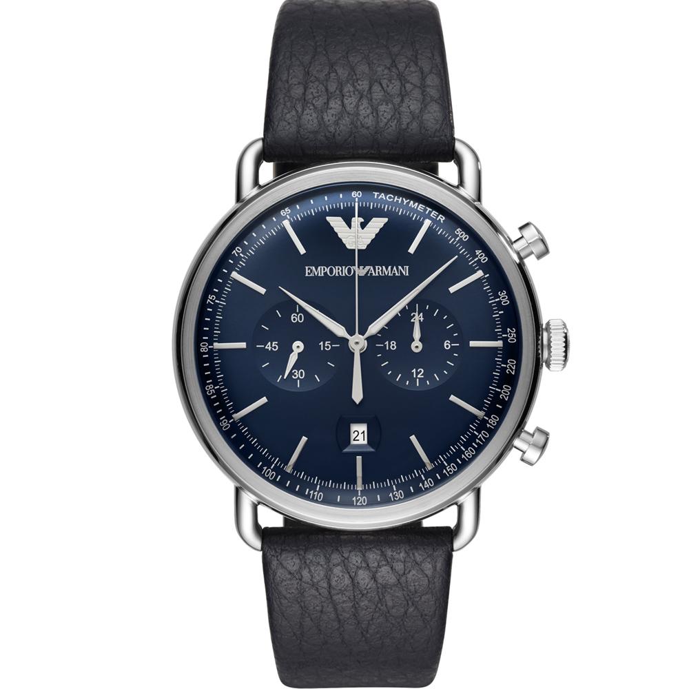 Emporio Armani 復刻時尚計時腕錶(AR11105)藍色/43mm @ Y!購物