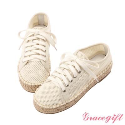Grace gift X Tammy-聯名飛織麻編綁帶休閒鞋 米色