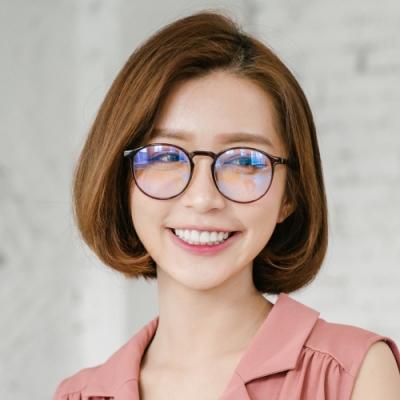 ALEGANT簡約造型輕量亮棕圓框UV400濾藍光眼鏡
