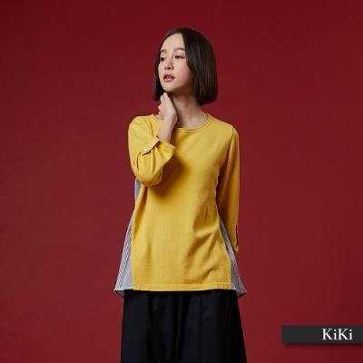 【KiKi】休閒拼接條紋-針織衫(三色)