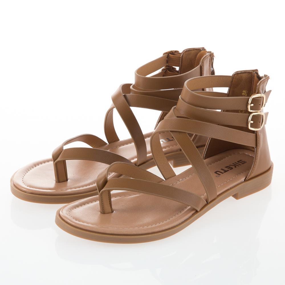 JMS-簡約日系交叉環踝羅馬夾腳涼鞋-棕色