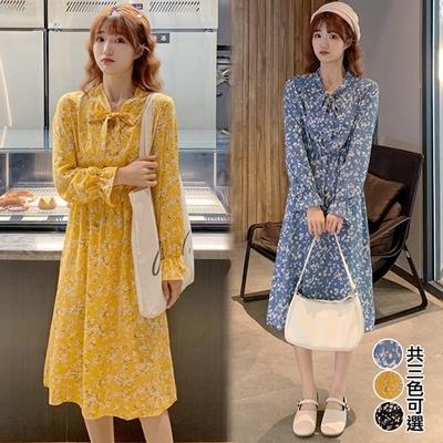 【韓國K.W.】(預購) 時尚小碎花收腰洋裝(共3色)