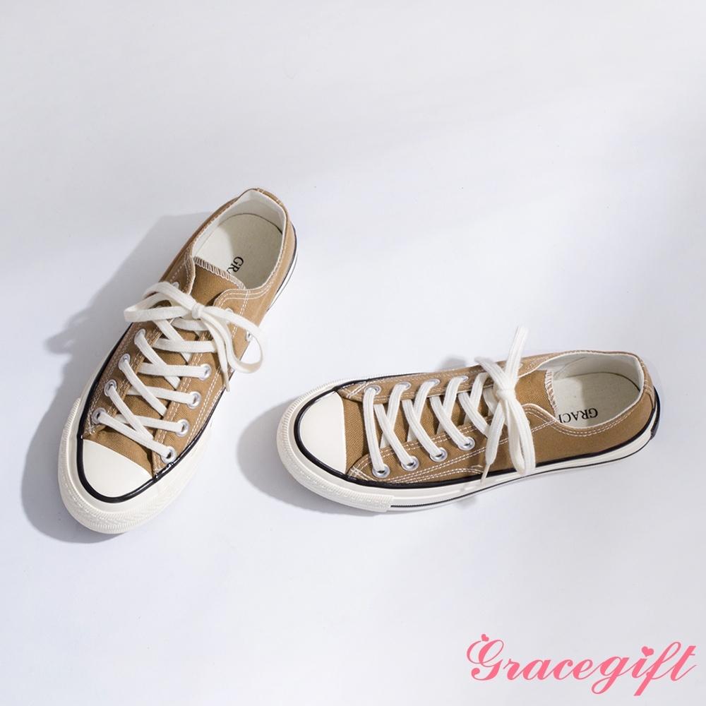 Grace gift-微厚底車線綁帶帆布鞋 卡其