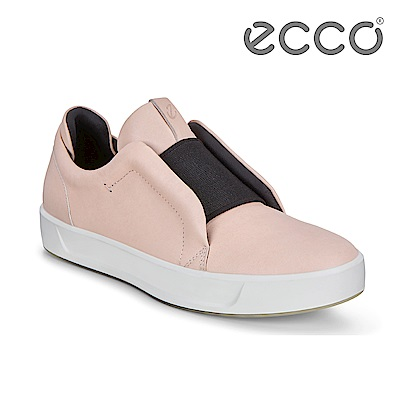 ECCO SOFT 8 W 撞色套入式休閒鞋 女-粉色