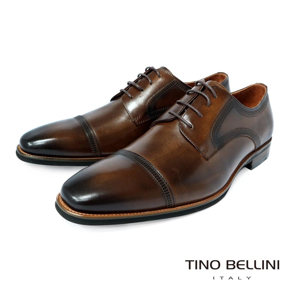 TINO BELLINI 牛皮現代流線設計正裝紳士鞋-咖啡