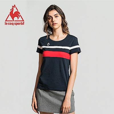 le coq sportif 法國公雞牌棉質紅藍白條紋圓領短袖T恤 女-丈青