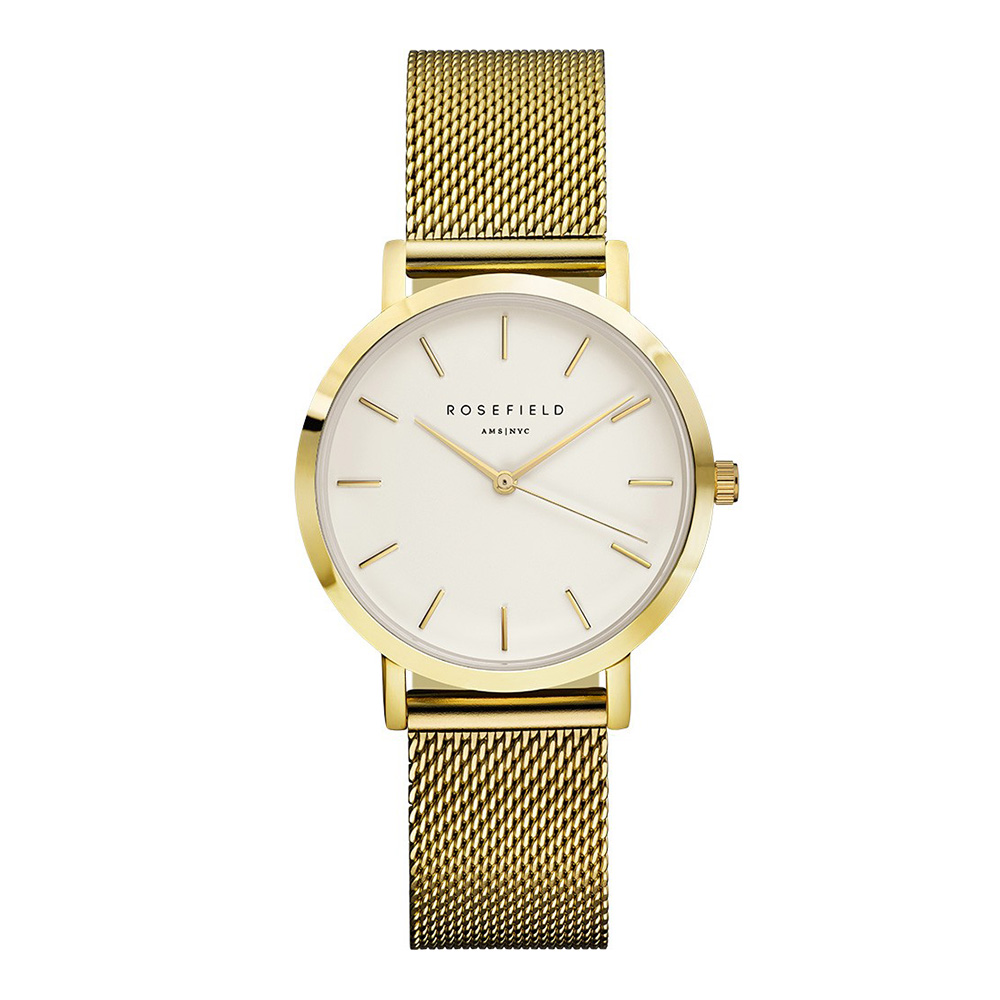 ROSEFIELD紐約精品手錶 The Tribeca系列金色金屬錶帶 白錶盤33mm