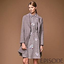 EPISODE - 俐落襯衫領格紋印花洋裝